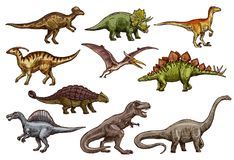 Dinosaur and prehistoric reptile animal sketches. Dinosaur animal icons of prehistoric reptile monsters. Dino sketches of triceratops, tyrannosaurus rex and royalty free illustration