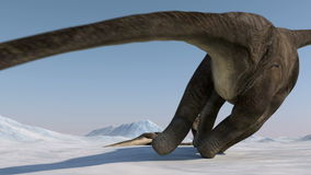 Dinosaur. Prehistoric snow landscape, ice valley with Dinosaurs. Arctic view