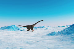 Dinosaur. Prehistoric snow landscape, ice valley with Dinosaurs. Arctic view Stock Image