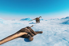 Dinosaur. Prehistoric snow landscape, ice valley with Dinosaurs. Arctic view. 3d render Royalty Free Stock Photo
