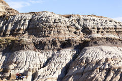 Dinosaur Provincial Park. Drumheller badlands at the Dinosaur Provincial Park in Alberta, where rich deposits of fossils and dinosaur bones have been found. The Royalty Free Stock Images