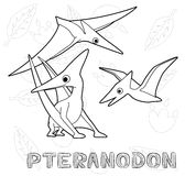Dinosaur Pteranodon Cartoon Vector Illustration Monochrome Stock Photos