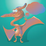 Dinosaur pteranodon with text bubble Stock Image