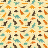 Dinosaur retro pattern. Vector set silhouettes of dinosaur,animal illustration, retro pattern background