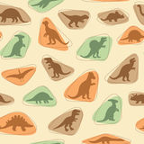 Dinosaur retro pattern. Vector set silhouettes of dinosaur,animal illustration, retro pattern background Royalty Free Stock Photos