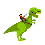 Dinosaur rider. Man sits on back of huge wild Raptor. Teamster d Royalty Free Stock Photos