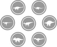 Dinosaur Round Emblem Set Dark Grey. Set of emblems/ badges/ stickers/ icons featuring classic stock dinosaurs. Round button shape Stock Image