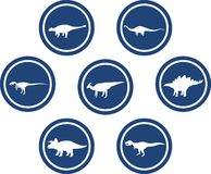 Dinosaur Round Emblem Set Deep Blue. Set of emblems/ badges/ stickers/ icons featuring classic stock dinosaurs. Round button shape Royalty Free Stock Photo