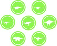 Dinosaur Round Emblem Set Green. Set of emblems/ badges/ stickers/ icons featuring classic stock dinosaurs. Round button shape. Green coloured Royalty Free Stock Photos