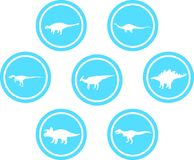Dinosaur Round Emblem Set Light Blue. Set of emblems/ badges/ stickers/ icons featuring classic stock dinosaurs. Round button shape Royalty Free Stock Photos