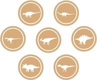 Dinosaur Round Emblem Set Light Brown. Set of emblems/ badges/ stickers/ icons featuring classic stock dinosaurs. Round button shape Royalty Free Stock Images