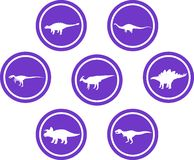 Dinosaur Round Emblem Set Purple. Set of emblems/ badges/ stickers/ icons featuring classic stock dinosaurs. Round button shape Royalty Free Stock Image