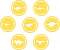 Dinosaur Round Emblem Set Yellow. Set of emblems/ badges/ stickers/ icons featuring classic stock dinosaurs. Round button shape Stock Images