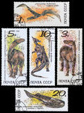 Dinosaur. RUSSIA - CIRCA 1990: a stamp printed in the Russia shows  Herbivorous Dinosaur, Prehistoric Animal, circa 1990 Royalty Free Stock Photo
