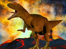 Dinosaur's doomsday. Illustration of the prehistoric world Royalty Free Stock Image