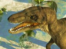 Dinosaur's ferocious head. Prehistoric landscape with big dinosaur Stock Image