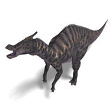Dinosaur Saurolophus. 3D render with clipping path and shadow over white stock illustration