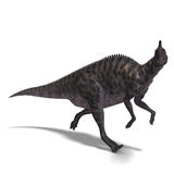 Dinosaur Saurolophus. 3D render with clipping path and shadow over white royalty free illustration