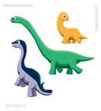 Dinosaur Sauropod Vector Illustration. Cute dinosaur cartoon set EPS10 file format Royalty Free Stock Images