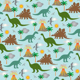 Dinosaur scene. Background pattern with volcanoes Stock Images