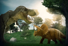 Dinosaur. Scene of the giant dinosaur destroy the park Royalty Free Stock Photo
