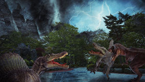 Dinosaur. Scene of the two s fighting each Royalty Free Stock Image