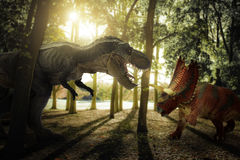 Dinosaur. Scene of the two s fighting each Stock Image