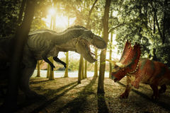 Dinosaur. Scene of the two s fighting each Royalty Free Stock Photography