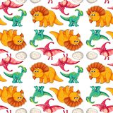Dinosaur on seamless pattern vector illustration