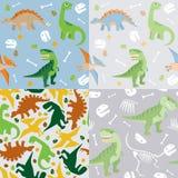 Dinosaur seamless pattern set. This is a vector set of four cute dinosaur seamless pattern set, including T rex, pteranodon, brachiosaurus and stegosaurus royalty free illustration