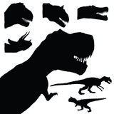 Dinosaur set adorable black color animal illustration. On white Stock Images