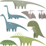 Dinosaur set 1. Prehistoric era Jurassic dinosaurs set 1, with eight different dinosaurs in different sizes and shapes  illustration Royalty Free Stock Photography