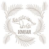 Dinosaur with sharp thorns on back and palm branches around. Isolated cartoon vector illustration on white background. Stegosaurus monochrome outline sketch Royalty Free Stock Photos