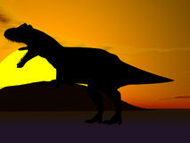 Dinosaur Silhouette. Silhouette of dinosaur against sun Stock Photography