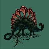 Dinosaur silhouette on isolated background. Color Stegosaurus. Tattoo style. Color Stegosaurus. Dinosaur silhouette on isolated background. Tattoo style stock illustration