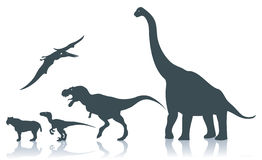 Dinosaur silhouettes stock illustration