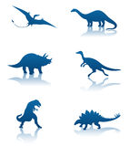 Dinosaur silhouettes. Six silhouettes of dinosaurs Stock Photo