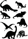 Dinosaur silhouettes. Illustration with dinosaur silhouettes collection isolated on white background Royalty Free Stock Photos