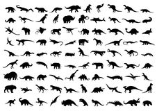 Dinosaur silhouettes. Isolated on white. Vector illustration Stock Photography