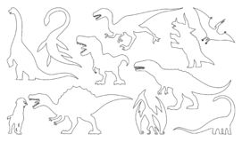 Dinosaur silhouettes coloring set. Vector illustration isolated on white stock illustration