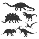 Dinosaur silhouettes. Set of dinosaur silhouettes. Amphicoelias and prehistoric, tyrannosaurus and triceratops,  vector illustration Royalty Free Stock Photos