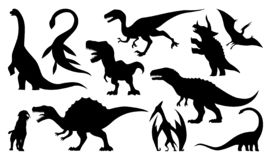 Dinosaur silhouettes set. Vector illustration isolated on white stock illustration