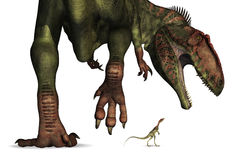Dinosaur Size Comparison - Huge to Tiny Stock Photo