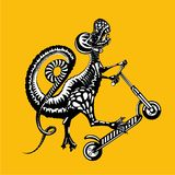 Tyrannosaurus Rex is riding on a kick scooter. Vector graphic illustration, tattoo style. Dinosaur skater.Tyrannosaurus Rex is riding on a kick scooter. Vector royalty free illustration