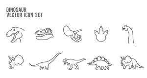Dinosaur Skeleton Fossil Vector Icon Set. Dinosaur Skeleton Fossil LineVector  Icon Royalty Free Stock Photo