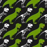 Dinosaur skeleton and seamless pattern.  Stock Photography