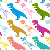 Dinosaur and skeleton seamless pattern. Tyrannosaurus t-Rex  Royalty Free Stock Images