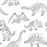 Cute cartoon dinosaur skeletons silhouettes seamless pattern in outline. Vector illustration. Dinosaur skeletons silhouettes endless background. Ideal for Stock Photo
