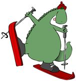 Dinosaur On Skis Royalty Free Stock Image