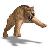 Dinosaur Smilodon. Saber-toothed tiger. 3D render with clipping path and shadow over white stock illustration